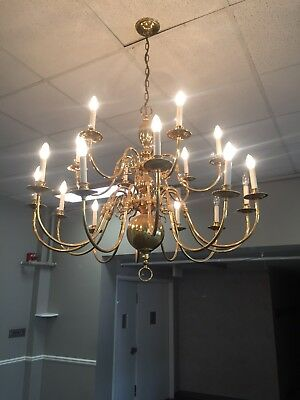 "Vintage Brass 18 Light Candle Candelabra chandelier  43"" x 33"" Large 2 to Sell"