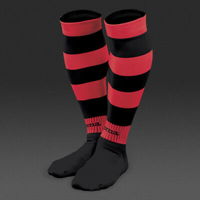 JOMA ZEBRA HOOPED FOOTBALL SOCKS - BLACK/RED - various sizes