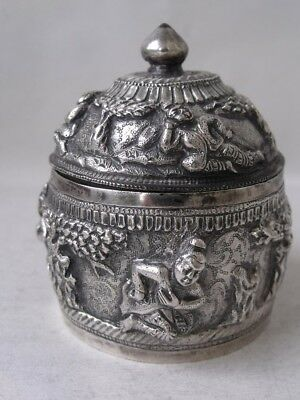 Quality Antique Indian Hand-Embossed Solid Silver Spice Box/H 6cm/ 69g/UNMARKED