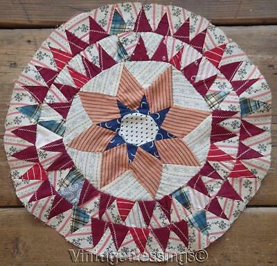 """Gorgeous! 1880s Antique Star Quilt BLOCK Tiny Triangles 13"""" Handpieced"""