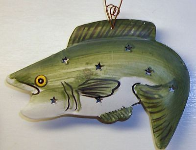 Reversible Metal Green Fish Country Lodge Cabin Fishing Fisherman wall deco Sign