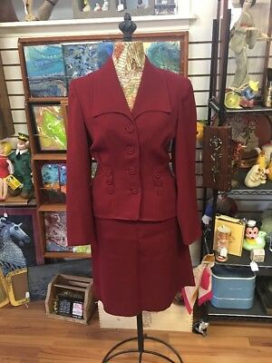 1940's Women's Burgundy Suit Hour Glass Jacket Skirt Military Era Bonnie & Clyde