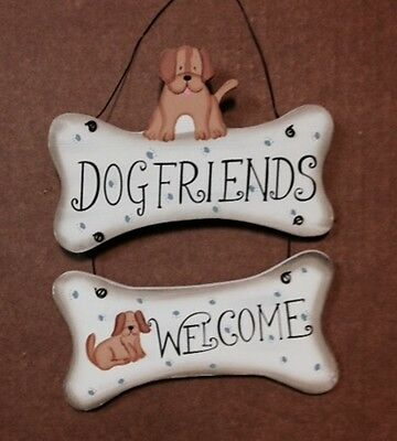 "8x6"" Wood Primitive Country Puppy DOG FRIENDS WELCOME Dogs Wall Decor Sign"
