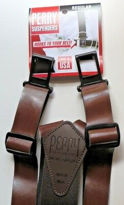 "1 3/8"" Brown Leather Suspenders - Perry Clips (See Details)"