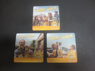 """complete set of 3 CASTLEMAINE XXXX GOLD, BEER COASTERS """" Latest issue"""