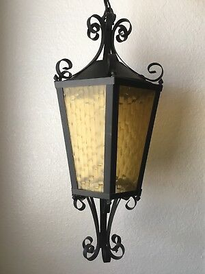 Vintage Wrought Iron Amber Glass Exterior Large Hanging Light Lantern 6 Pane EUC
