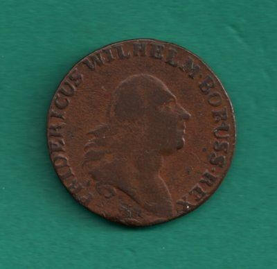 Poland South Prussia Grossus 1797 Frederick Wilhelm II 22mm Copper Coin