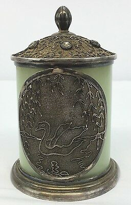 Antique Chinese Sterling Silver Enamel Tea Caddy Box With Jade Body