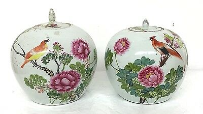 Lovely Pair Of Antique Chinese Porcelain Jars With Fine Details