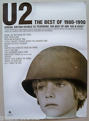 UK 1998 U2 Island Promo Poster Best of 1980-1990 Album NOS Bono The Edge U2