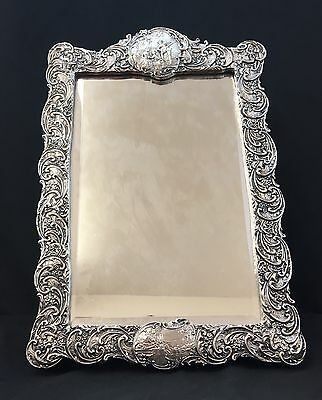 Very Unique Antique English Sterling Silver Mirror with Fine Repousse Details