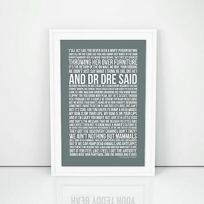 Eminem Print The Real Slim Shady Lyrics song Poster A4 A3 Size  Wall Artwork