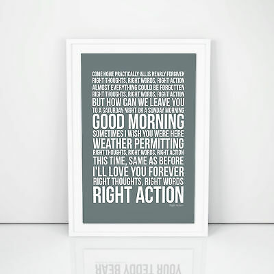 Franz Ferdinand Poster Right Action Lyrics song Print A4 A3 Size  Wall Artwork