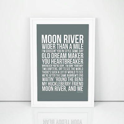 Frank Sinatra Moon River Lyrics song print A4 A3 Size Poster Wall Artwork