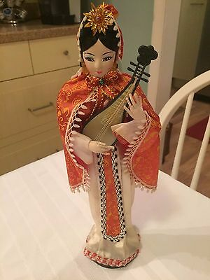Vintage 70's Yu Chu Cloth Chinese Girl Doll w/ Musical Instrument Stockinette