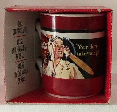 "NIB Coca Cola Mug Vintage ""Your Thirst Takes Wings"" Aero Girl Aviator"