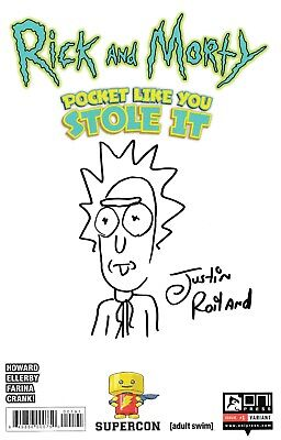Justin Roiland Rick And Morty Blank Variant Exclusive Comic  Signed W/ Sketch