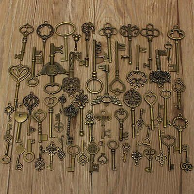 69pcs DIY Unique Antique Vintage Old Look Bronze Skeleton Keys Fancy Pendant