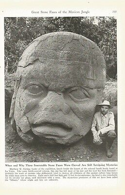 1940 Great Stone Faces Of The Mexican Jungle Vintage Magazine Print Photo Set