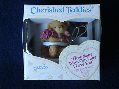 """Cherished Teddies - Card Holder - """"I'll Say It With A Rose"""" - 790508 - 2000"""