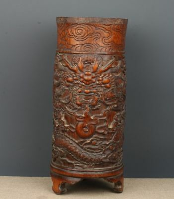 Chinese Exquisite Hand-carved Dragon carving bamboo Pen holder