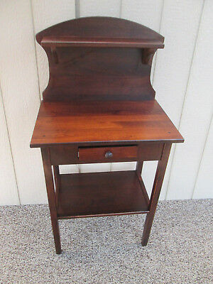 53925 Custom Made Pine Stand Table With Drawer And Shelf