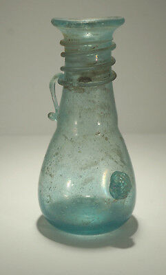 Beautiful ANCIENT Roman/Byzantine Blue Iridescent Glass Vase or Wine Carafe