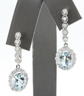 4.21CTW Natural Blue Aquamarine & Diamond in 14K Solid White Gold Women Earrings