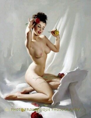 "Nude Woman Placing Flower in Hair 8.5x11"" Photo Print Lovely Pin-up Gil Elvgren"