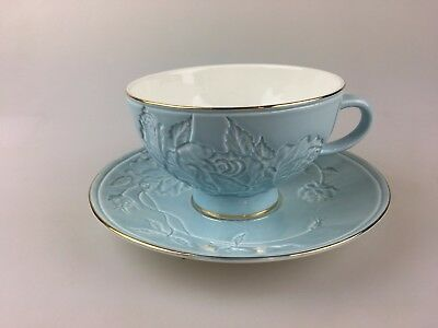 Beautiful Embossed Floral Blue Cup & Saucer With Gold Trim - Duo - High Tea
