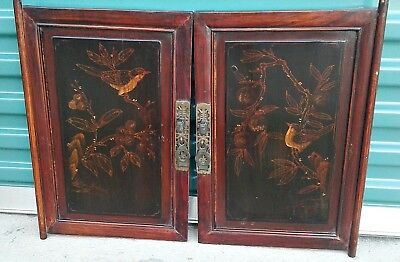 Pair of Chinese Cabinet Door Panels Painted Birds Asian Art 13 x 20