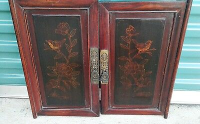 Pair of Chinese Cabinet Door Panels Painted Birds Asian Art