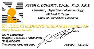 SIGNED Peter C. Doherty Business Card Nobel Prize in Medicine 1996