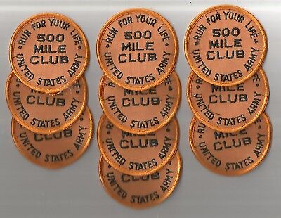 Lot Of 10 -  500 Mile Run For Your Life  U.s. Army Patches(M/p 1609)