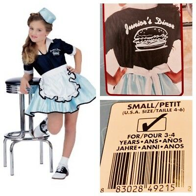 06587635d6dd Halloween Costume Rubie's Carhop Diner Waitress Girl 50's Circle Skirt  Small 4-6
