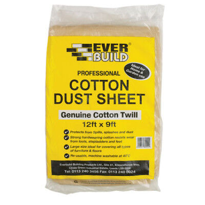 EVERBUILD COTTON DUST SHEETS 12 FT x 9 FT STRONG 12 X 9 LARGE HEAVY DUTY