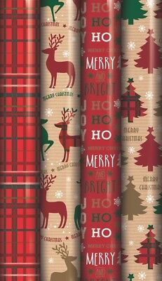 4 x 5M Rolls Of Christmas Gift Wrap Wrapping Paper Traditional Tartan Reindeer