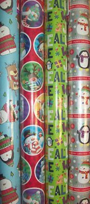 4 x 5M Rolls Of Christmas Gift Wrap Wrapping Paper Kids Characters Script XW5NVK