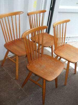 Set of four (4x) vintage blonde stickback chairs, 1960s retro, very solid