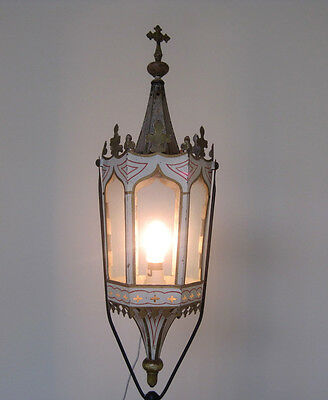 Antique French Processional Lantern Gothic Revival Style Hand Painted Toleware