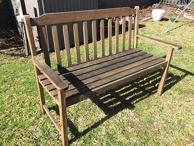 Vintage Teak Garden Bench Length In Strong Sturdy Condition Length 125 cm