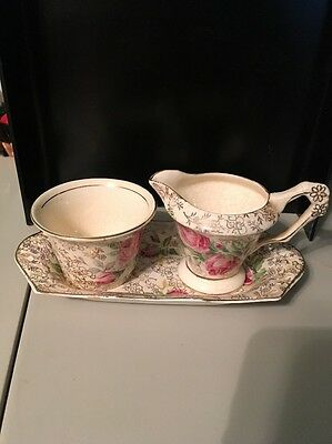 Vintage James Kent Rosita LongTon Porcelain Sugar And Creamer With Tray England