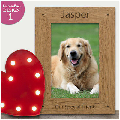 Personalised Wooden Photo Frame Dog Cat Pet Loss Memorial - Pet Remembrance Gift