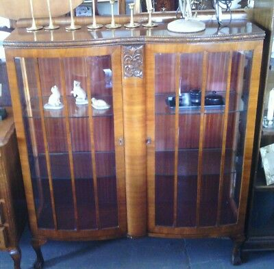 Edwardian double bow fronted display cabinet