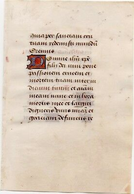 Illuminated Medieval Manuscript Leaf, ca. 1485 from a book of hours, Holy Cross