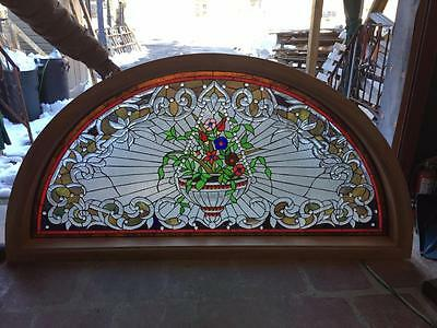 Hand Cut Stained And Jeweled Glass Victorian Style Transom Window - Jhl87