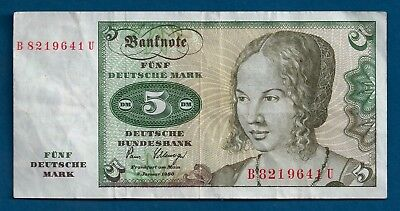 Germany 5 Deutsche Mark 1980 P-30b Venetian Girl Portrait by Durer Banknote