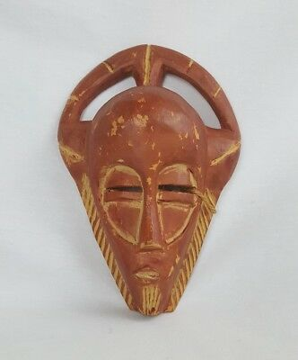 "Ghana African 9"" Handmade Wood Mask Carved Tribal Wall Wooden Art Hanging Face"