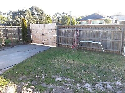 GATE 3m TIMBER STEEL FRAME POSTS HINGES READY TO FIT $60 (see in Morwell Vic)