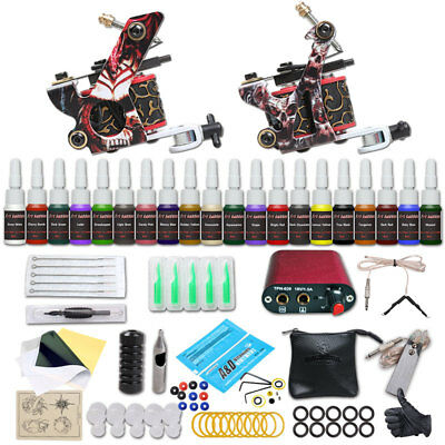 Complete Beginer Tattoo Kit 2 Machine Guns 20 Color Inks Power Supply Set New